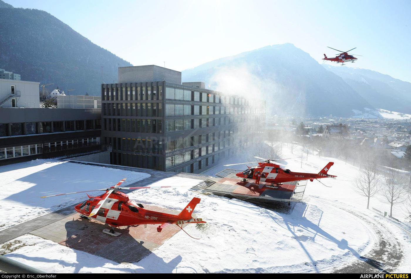 REGA Swiss Air Ambulance  HB-ZRW aircraft at Off Airport - Swiss Alps