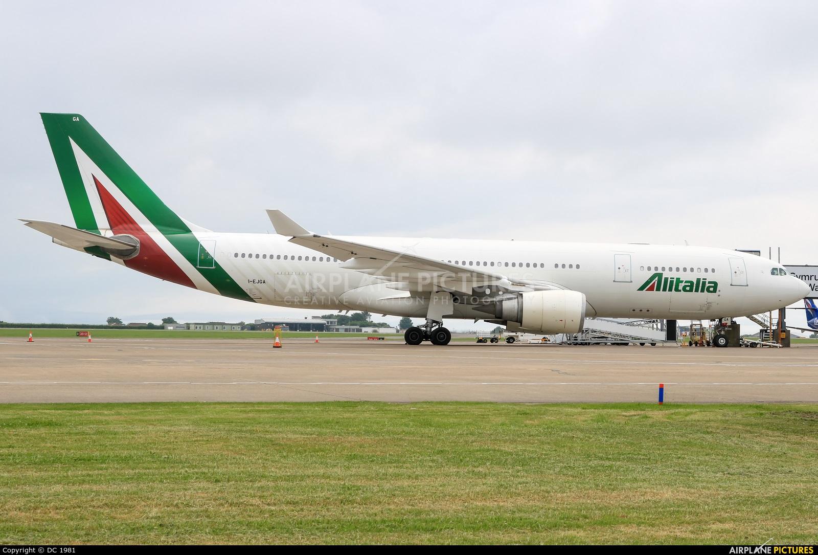 Alitalia I-EJGA aircraft at Cardiff