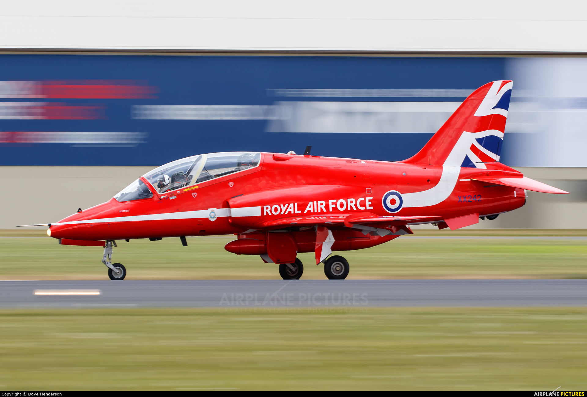 "Royal Air Force ""Red Arrows"" XX242 aircraft at Fairford"