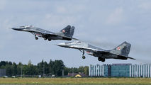 Two Polish Air Force MiG-29s visit Rzeszow title=