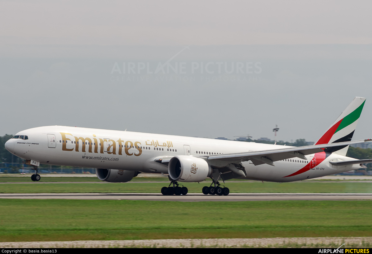 Emirates Airlines A6-EPS aircraft at Warsaw - Frederic Chopin