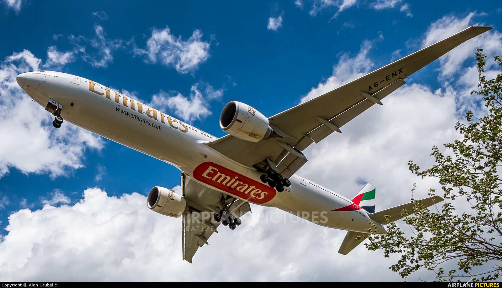 Emirates Airlines A6-ENX aircraft at Zagreb