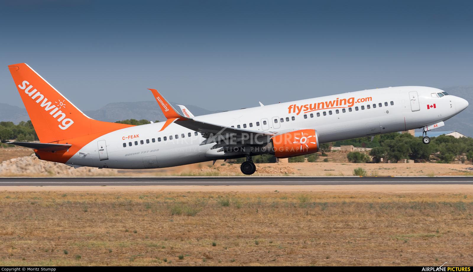 Sunwing Airlines C-FEAK aircraft at Palma de Mallorca