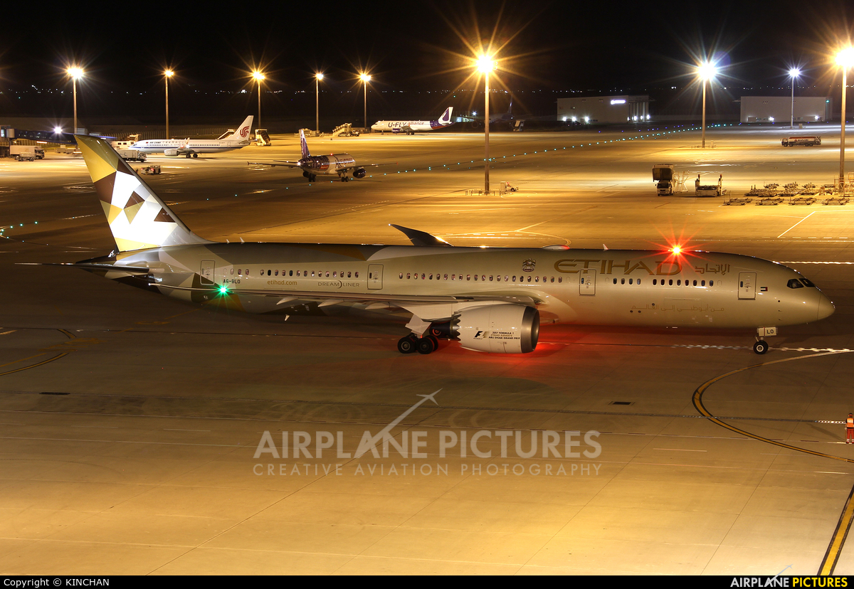 Etihad Airways A6-BLO aircraft at Chubu Centrair Intl