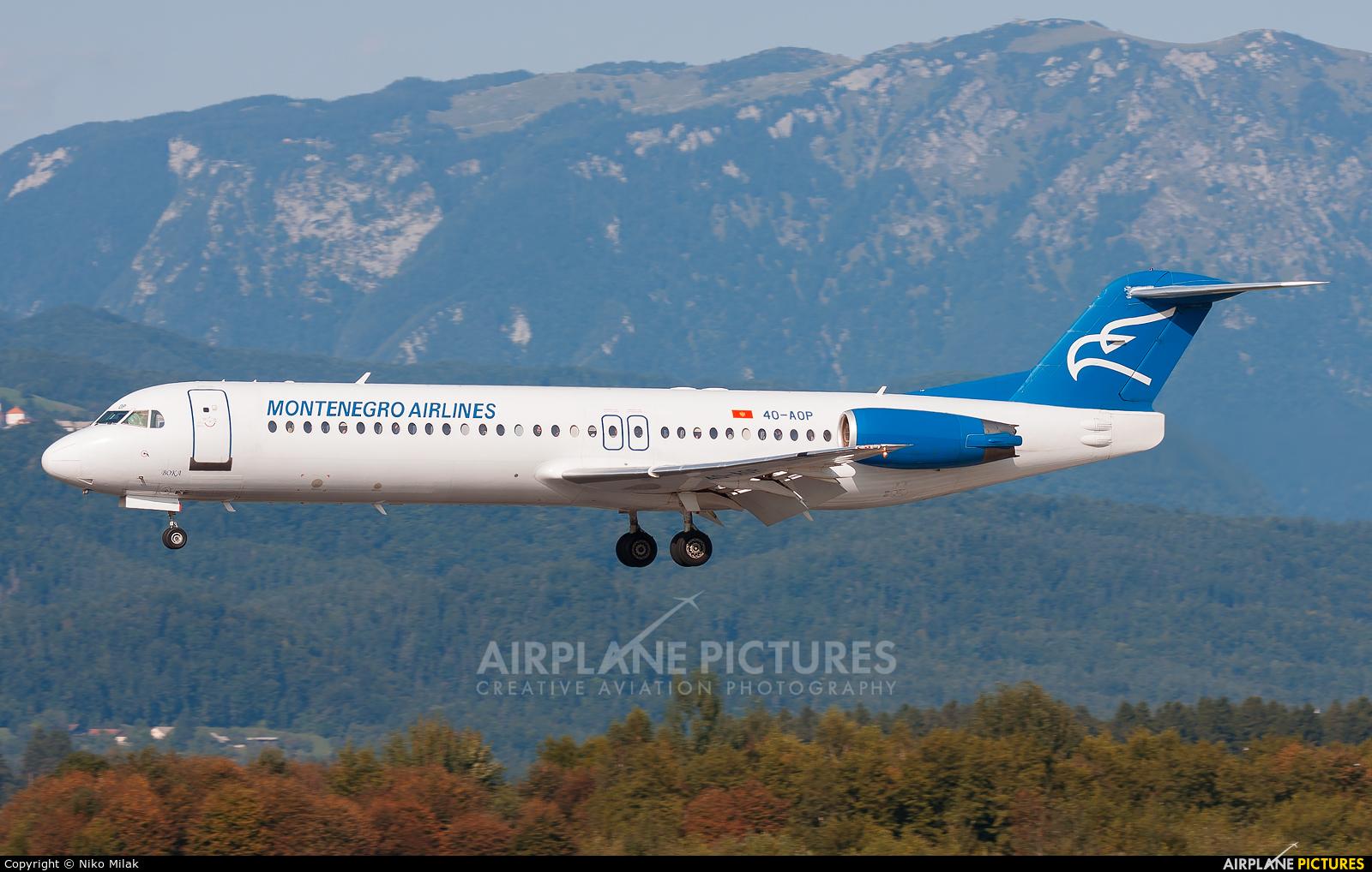 Montenegro Airlines 4O-AOP aircraft at Ljubljana - Brnik