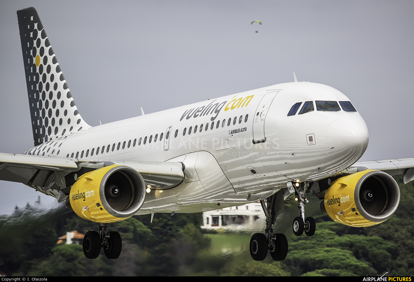Vueling Airlines EC-MKX aircraft at San Sebastian