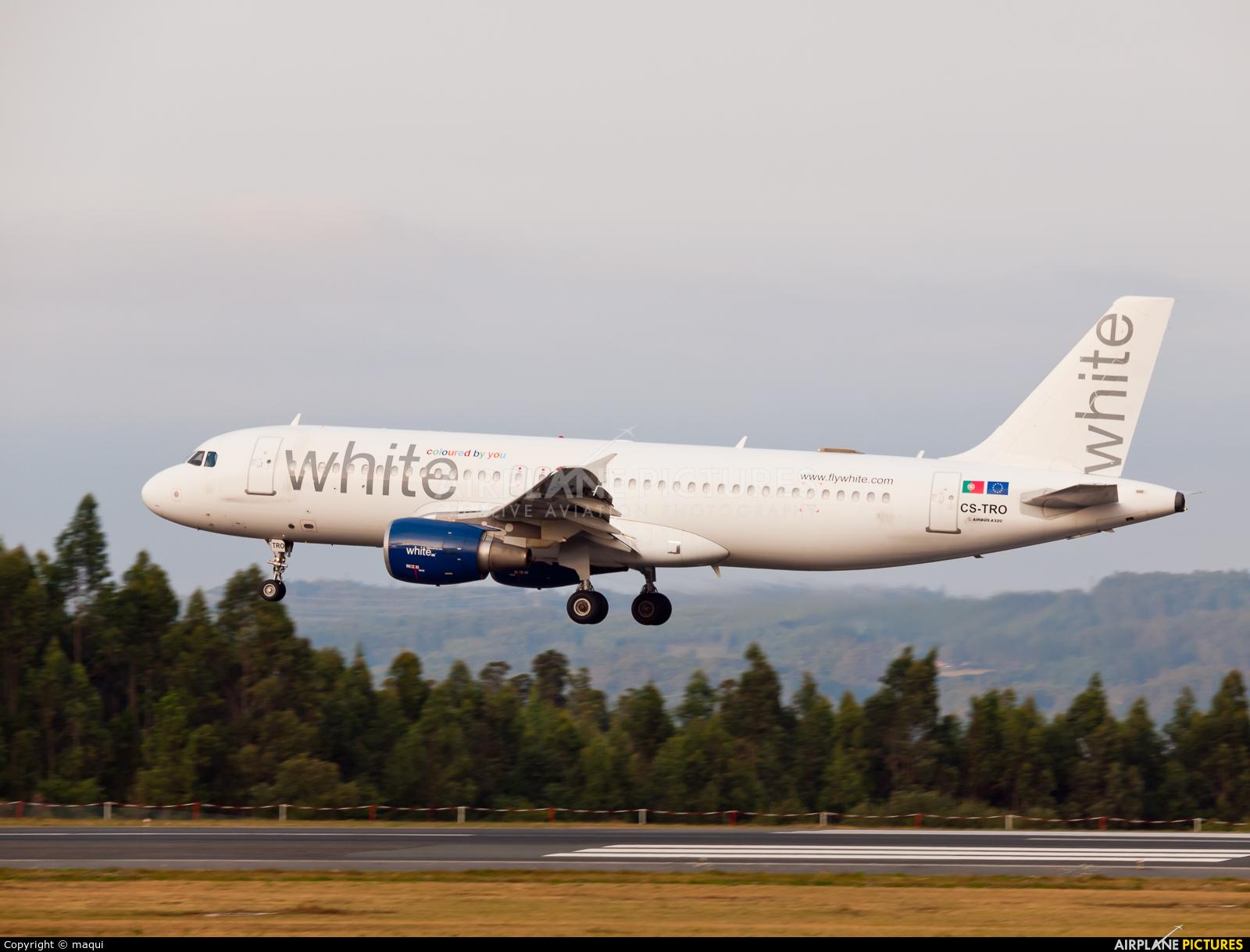 White Airways CS-TRO aircraft at Santiago de Compostela