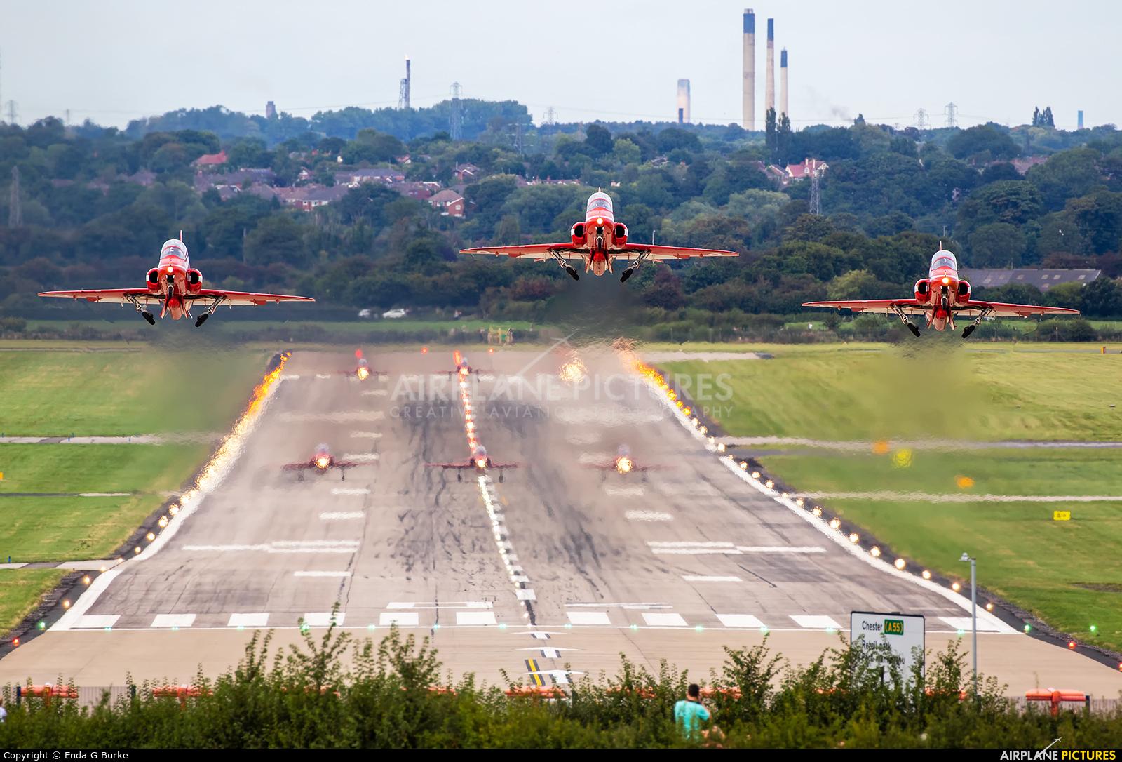"""Royal Air Force """"Red Arrows"""" - aircraft at Hawarden"""