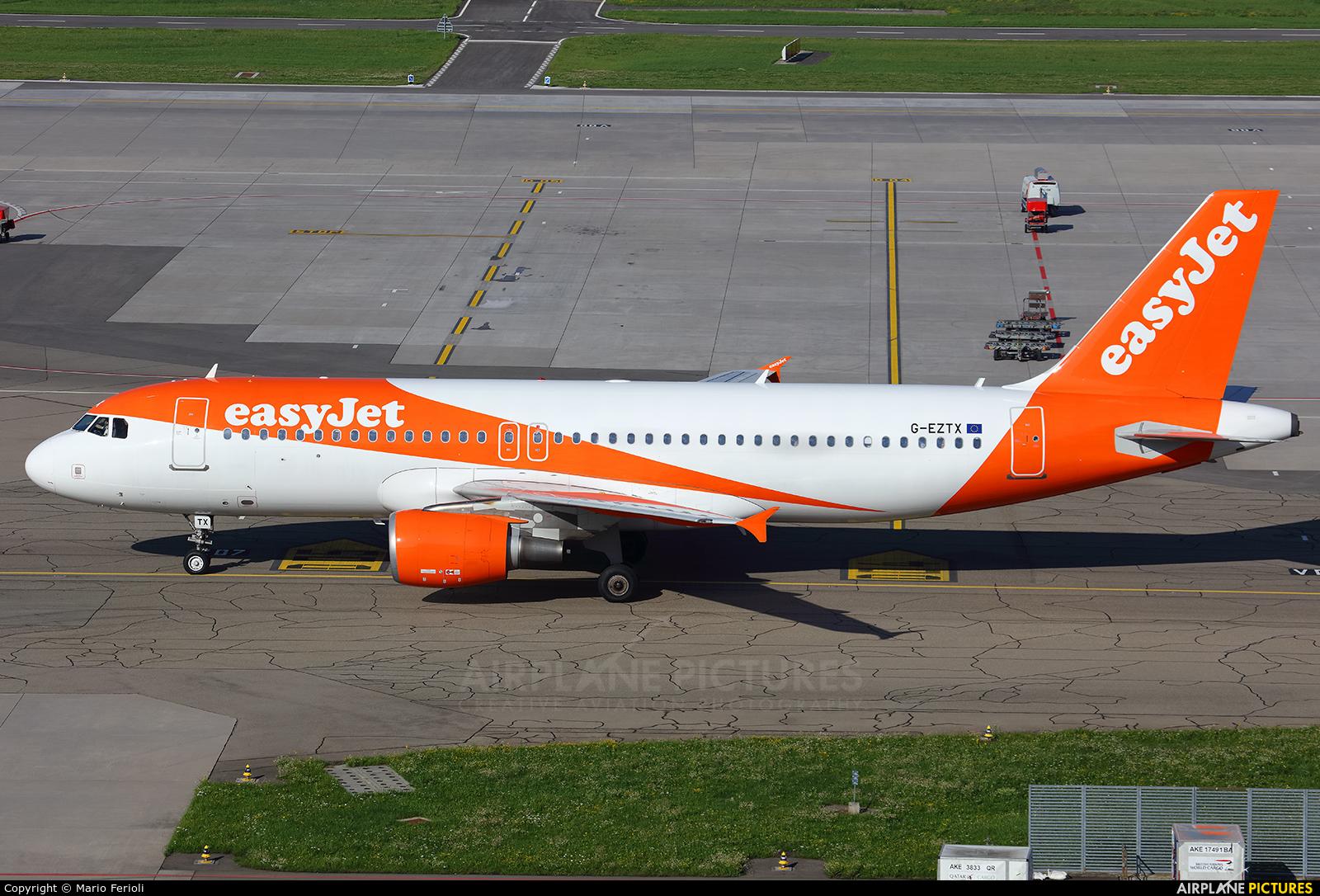 easyJet G-EZTX aircraft at Zurich