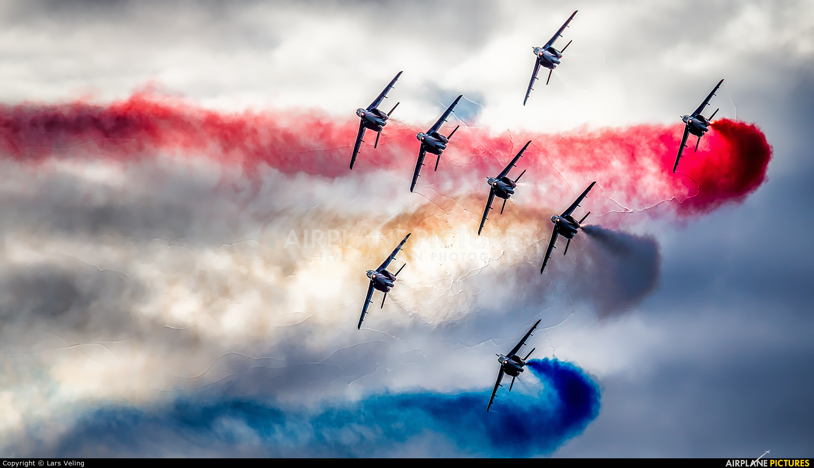 "France - Air Force ""Patrouille de France"" E114 aircraft at Leopoldsburg - Beverlo"