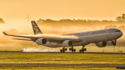 #1 South African Airways Airbus A340-600 ZS-SNB taken by Simon Forster