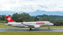 Rare visit of SWISS Bombardier CS100 to Biarritz title=