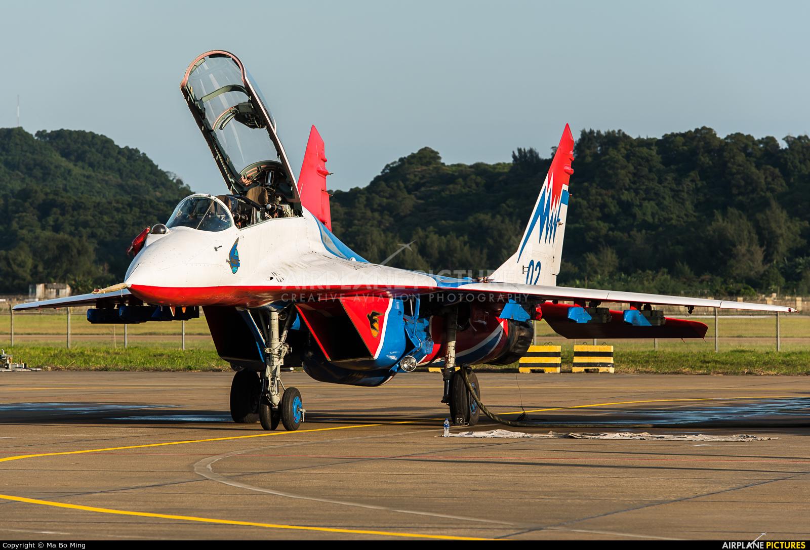 Russia - Air Force 02 BLUE aircraft at Zhūhǎi-Jīnwān