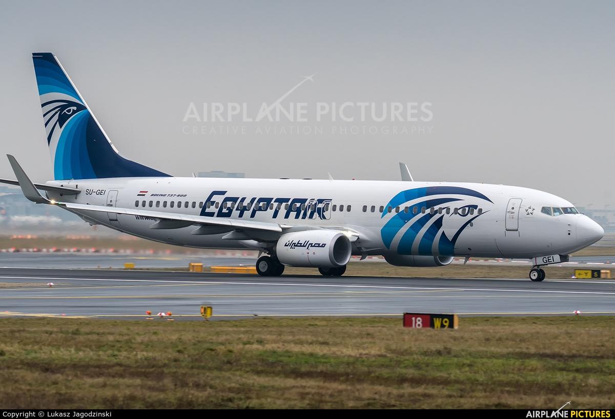 Egyptair SU-GEI aircraft at Frankfurt