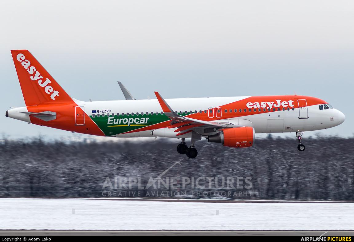 easyJet G-EZPC aircraft at Budapest Ferenc Liszt International Airport