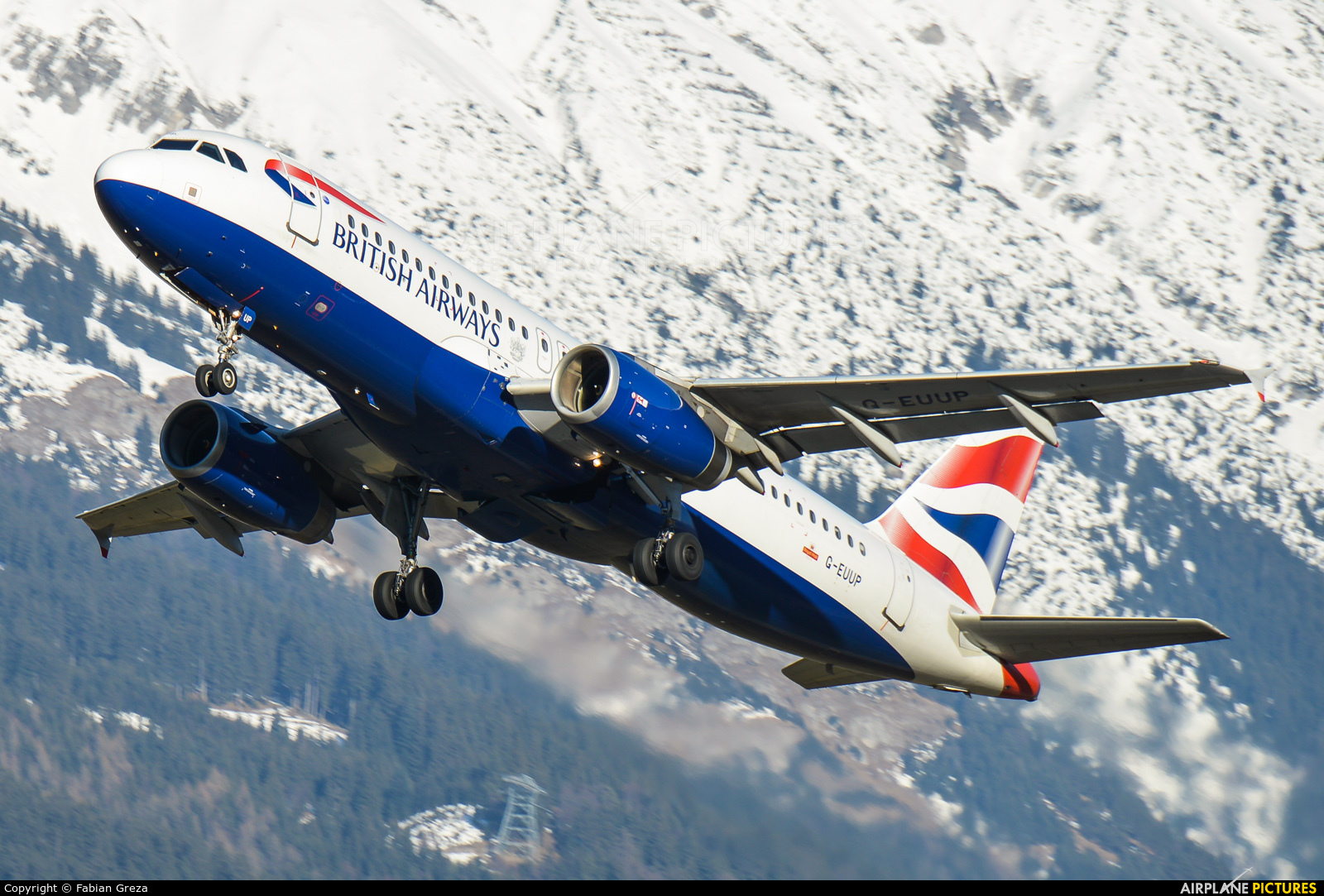 British Airways G-EUUP aircraft at Innsbruck