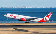 Ex Air Canada B763 stopped at Tokyo Haneda before delivery to Canada Rouge title=