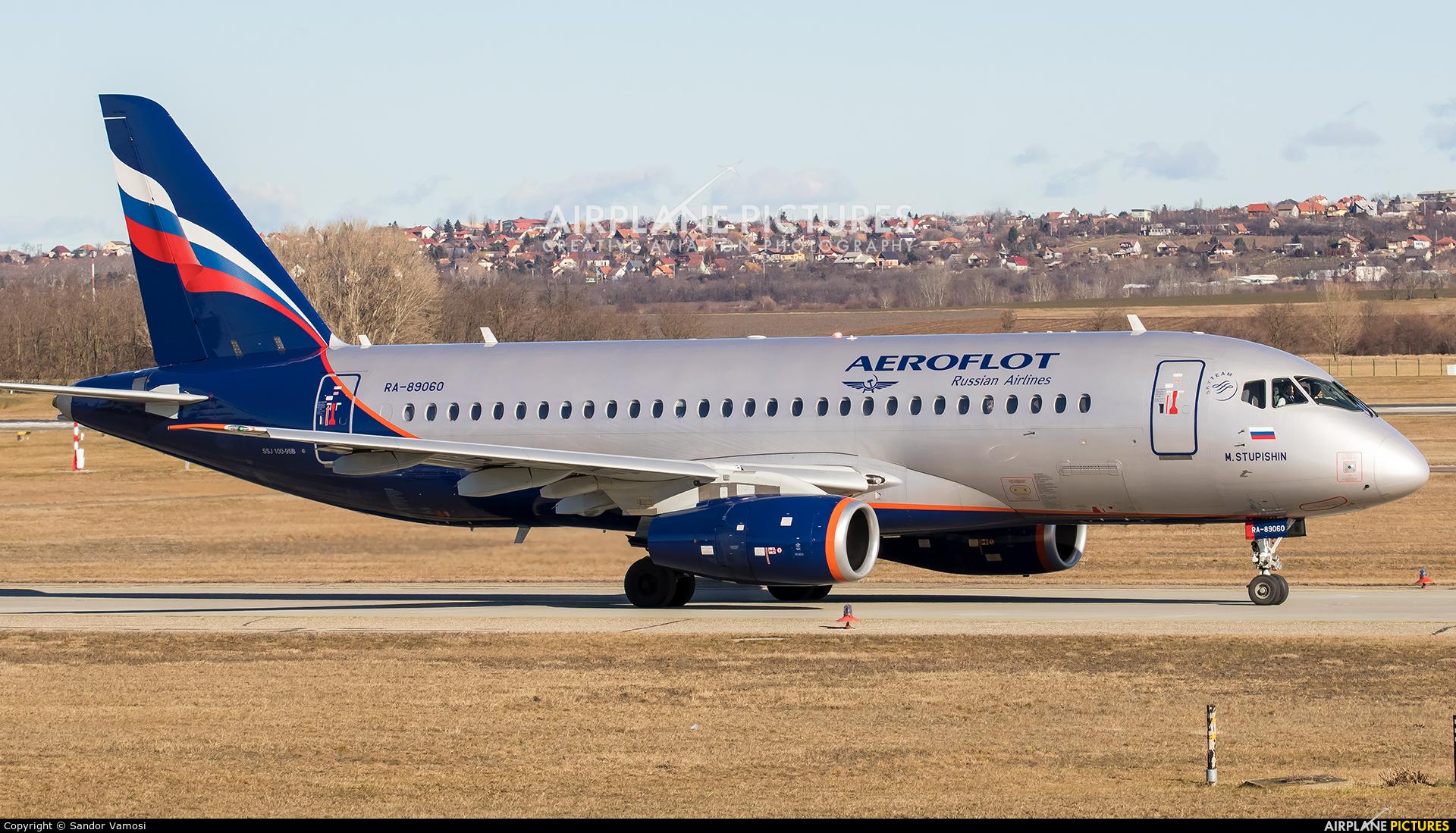 Aeroflot RA-89060 aircraft at Budapest Ferenc Liszt International Airport