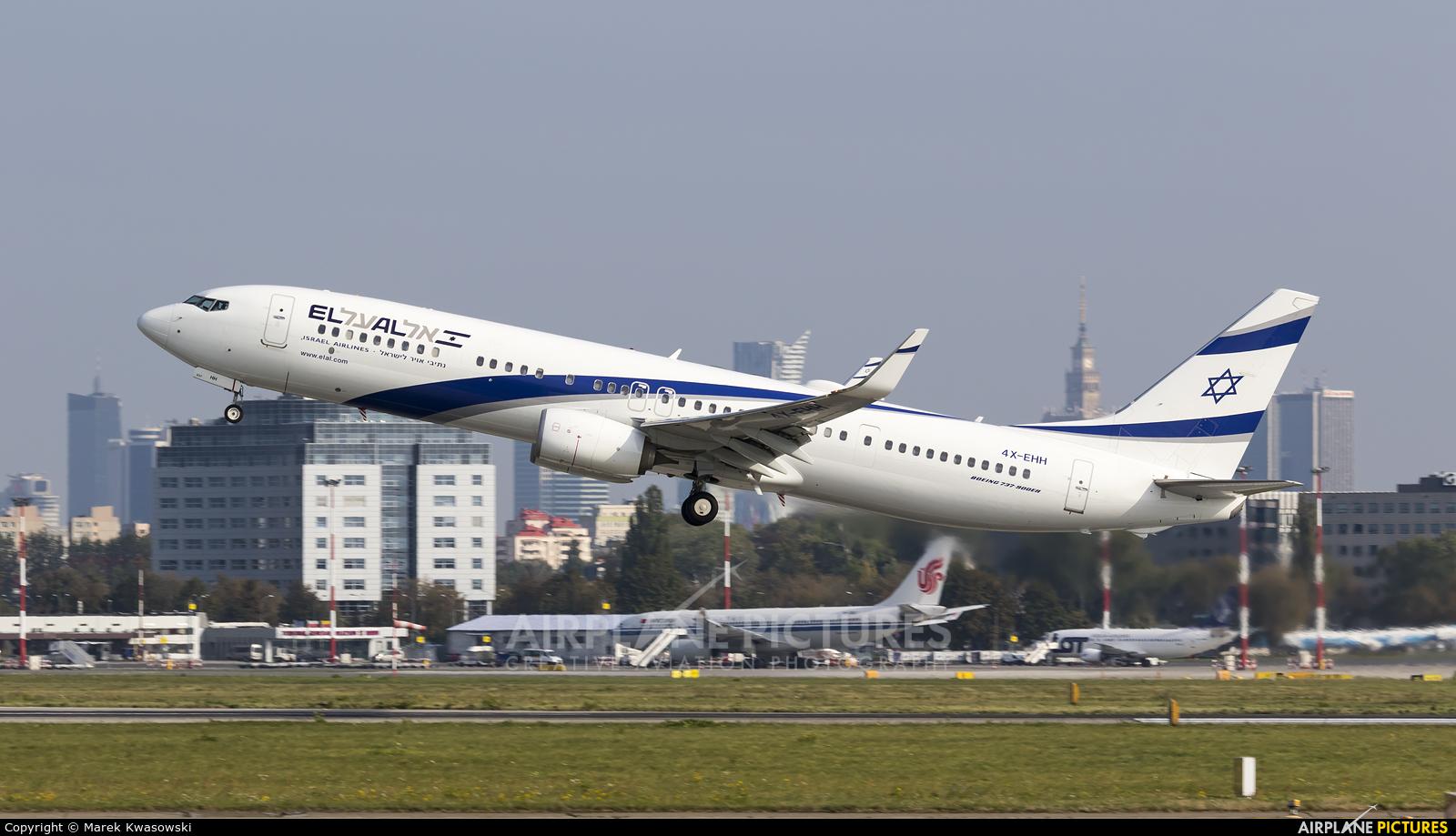 El Al Israel Airlines 4X-EHH aircraft at Warsaw - Frederic Chopin
