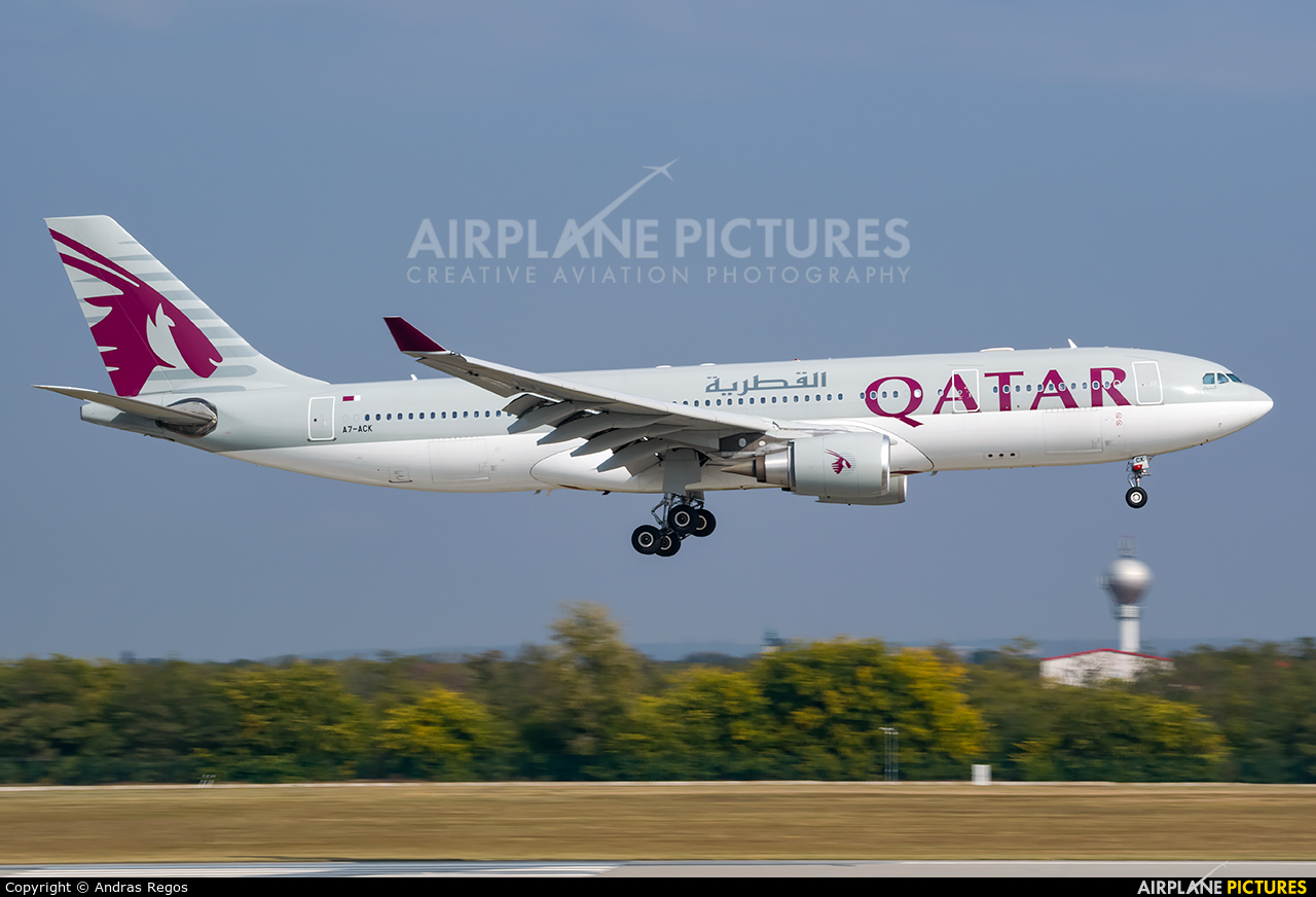 Qatar Airways A7-ACK aircraft at Budapest Ferenc Liszt International Airport