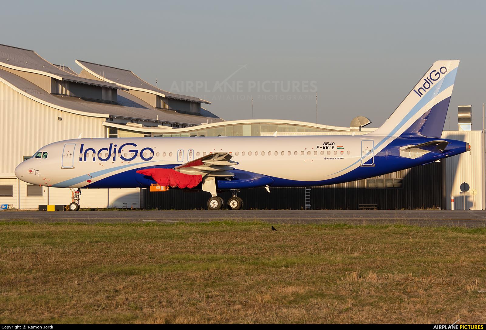 IndiGo F-WWIV aircraft at Toulouse - Blagnac
