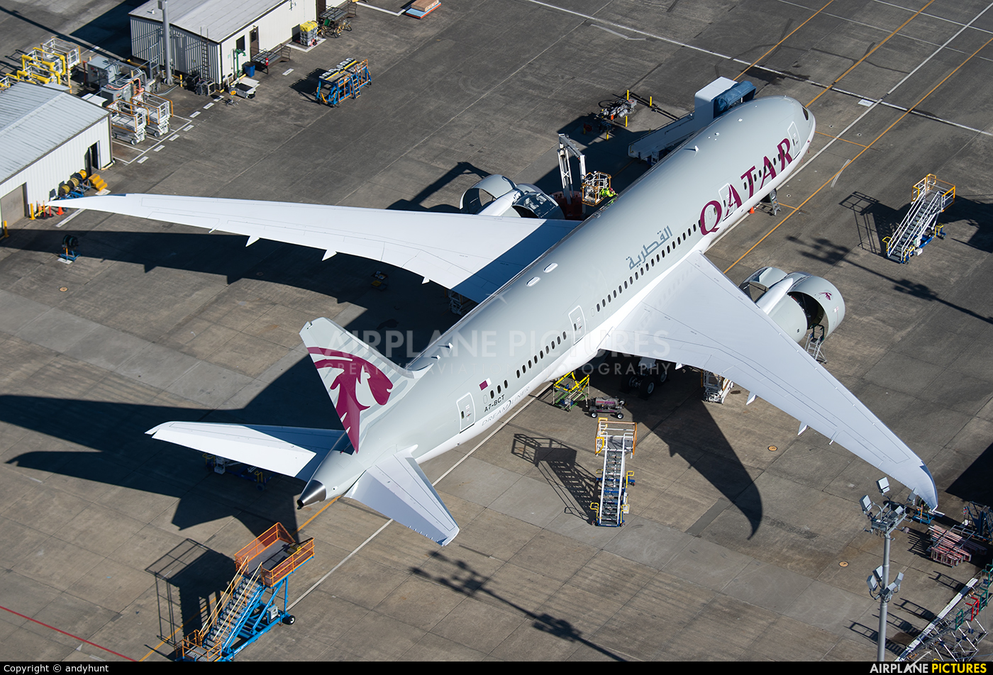 Qatar Airways A7-BCT aircraft at Everett - Snohomish County / Paine Field