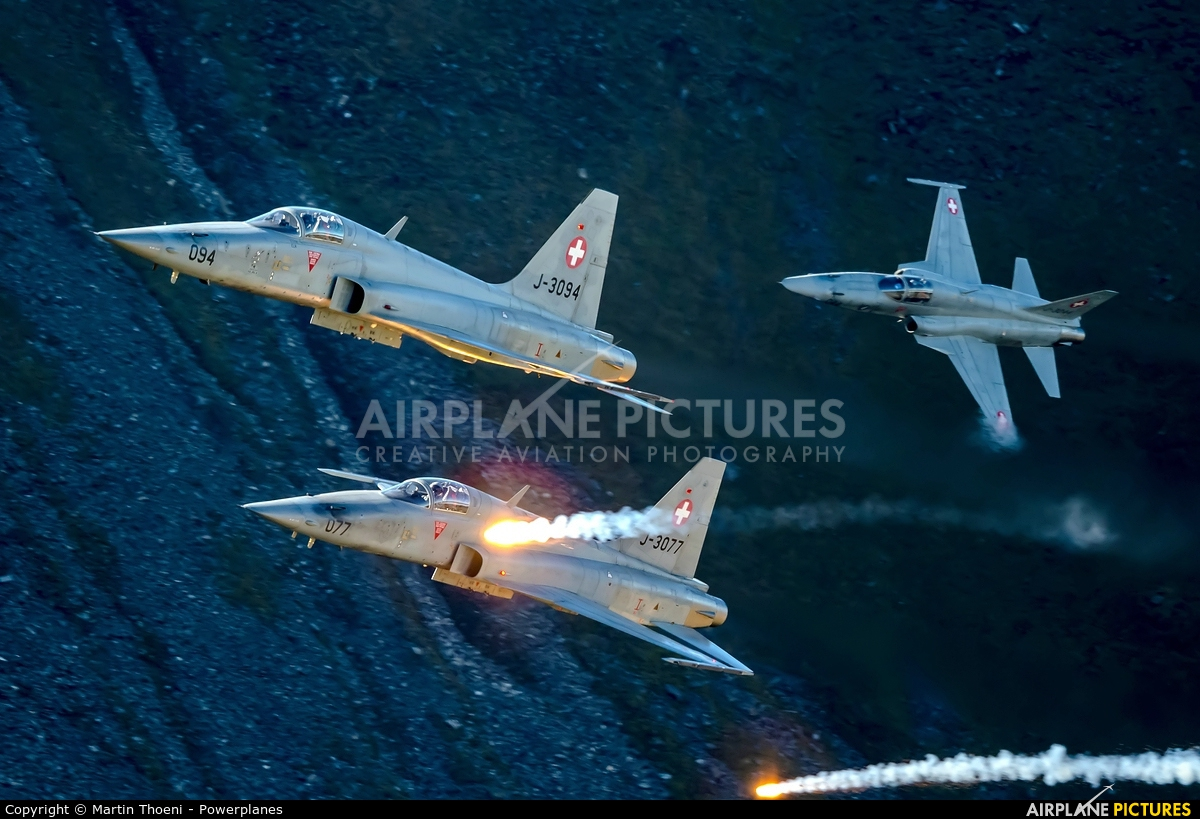 Switzerland - Air Force J-3094 aircraft at Axalp - Ebenfluh Range