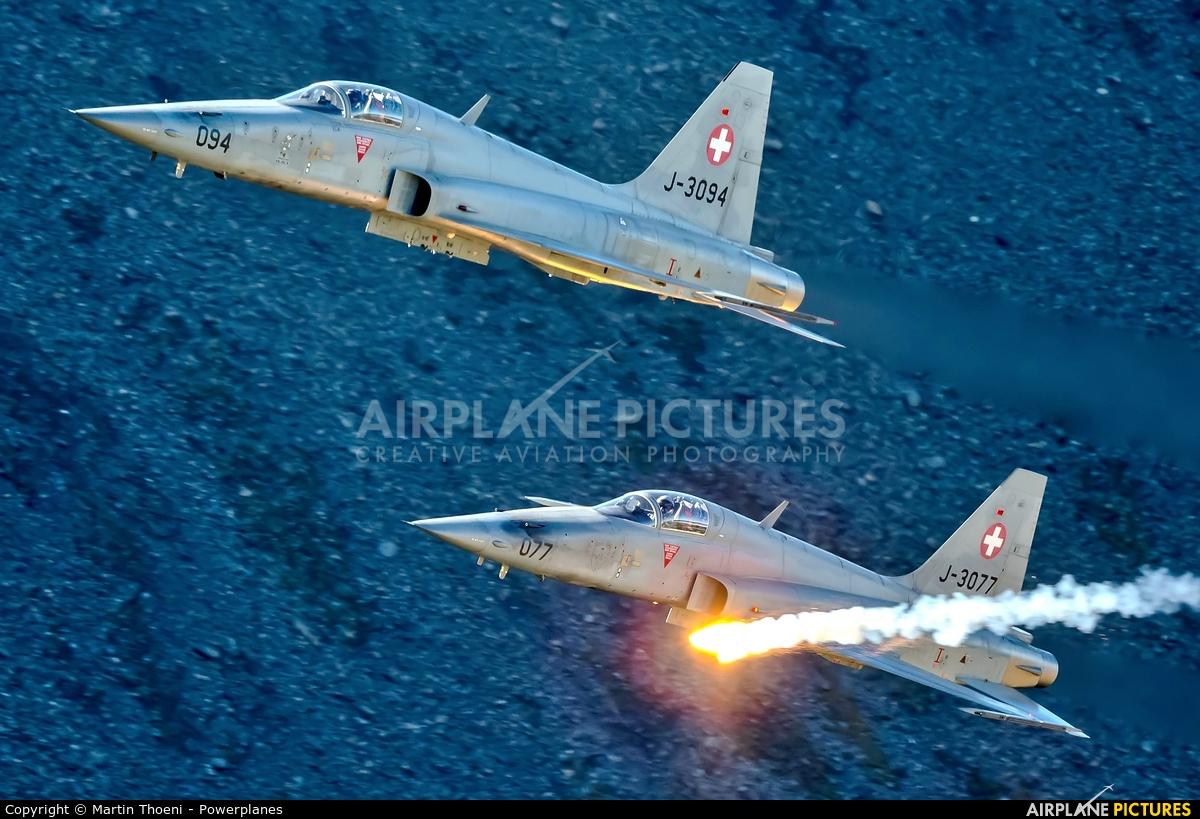 Switzerland - Air Force J-3077 aircraft at Axalp - Ebenfluh Range