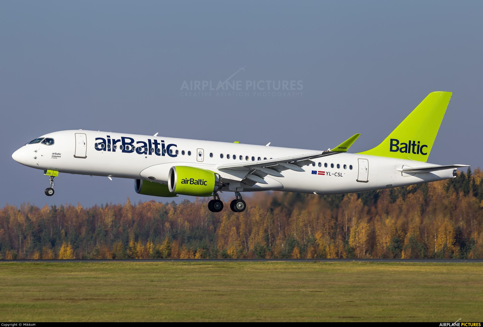 Air Baltic YL-CSL aircraft at Helsinki - Vantaa