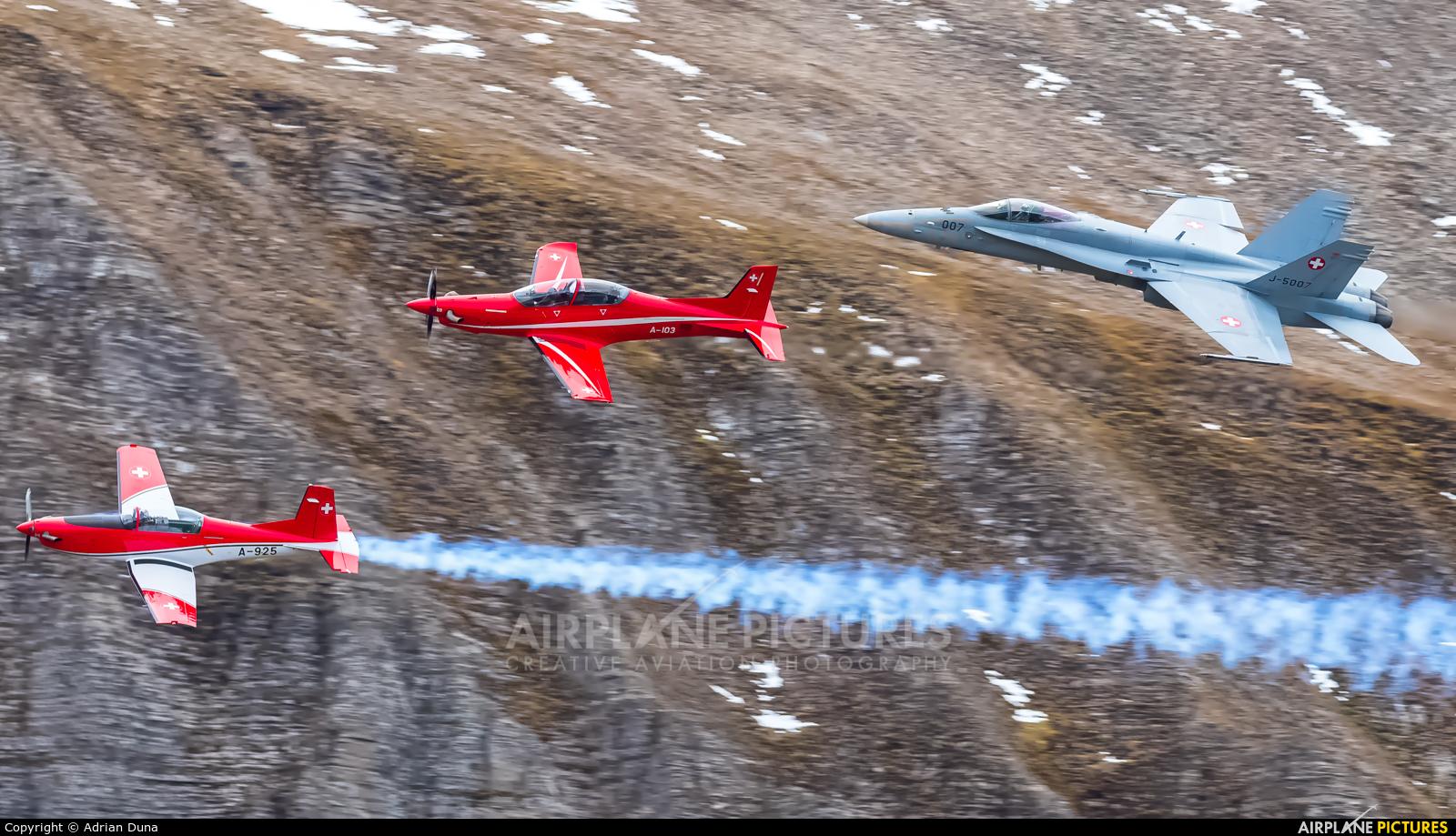 Switzerland - Air Force A-103 aircraft at Axalp - Ebenfluh Range