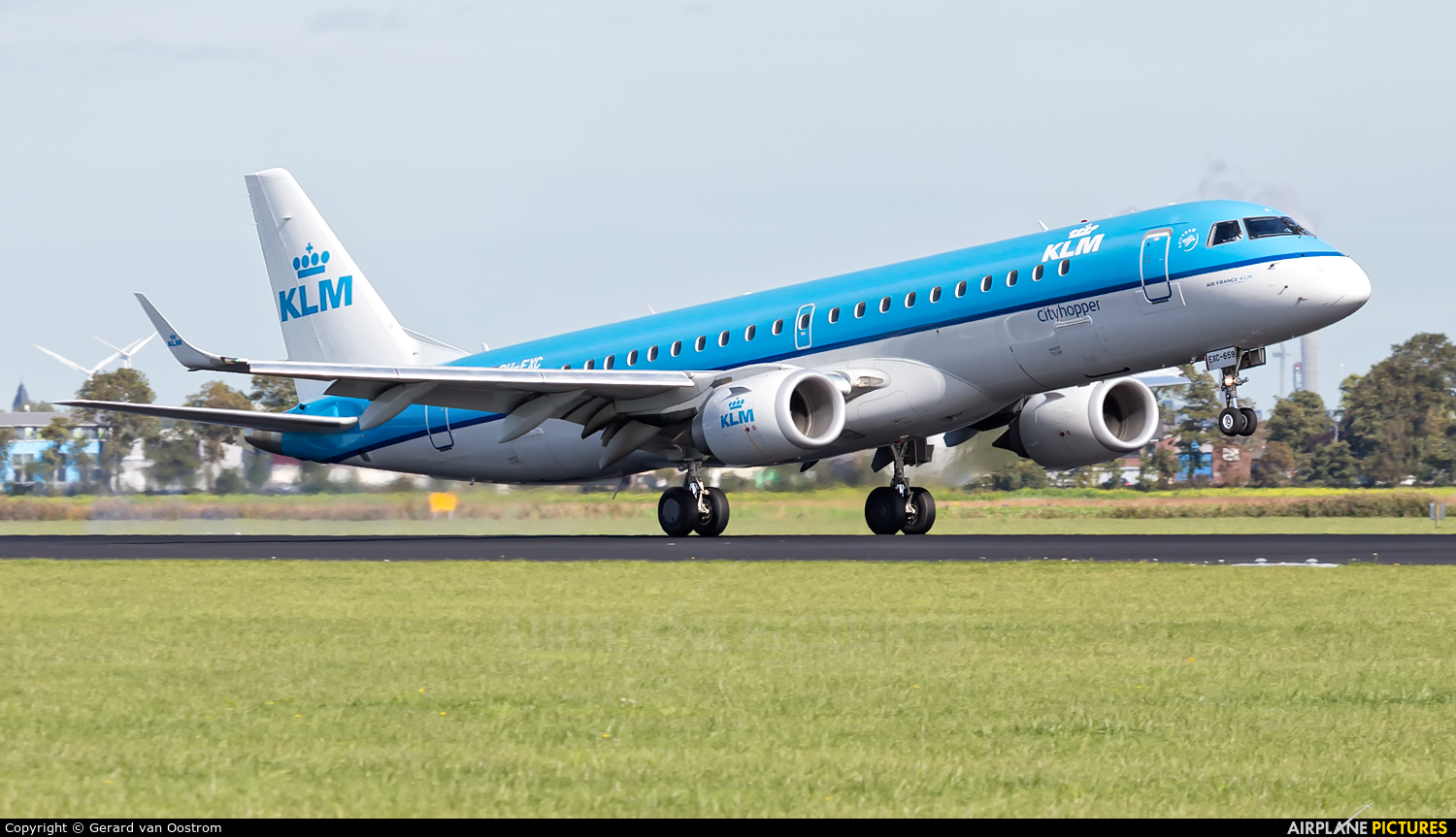 KLM Cityhopper PH-EXC aircraft at Amsterdam - Schiphol