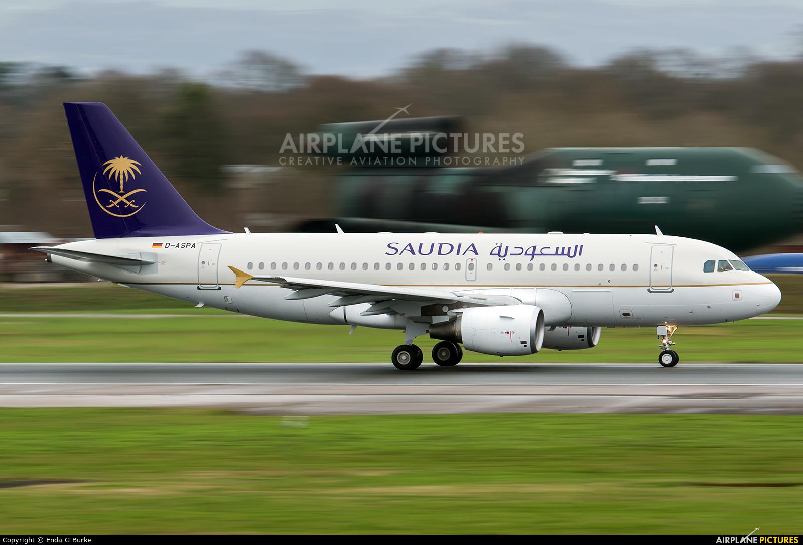 Saudi Arabian Airlines D-ASPA aircraft at Manchester