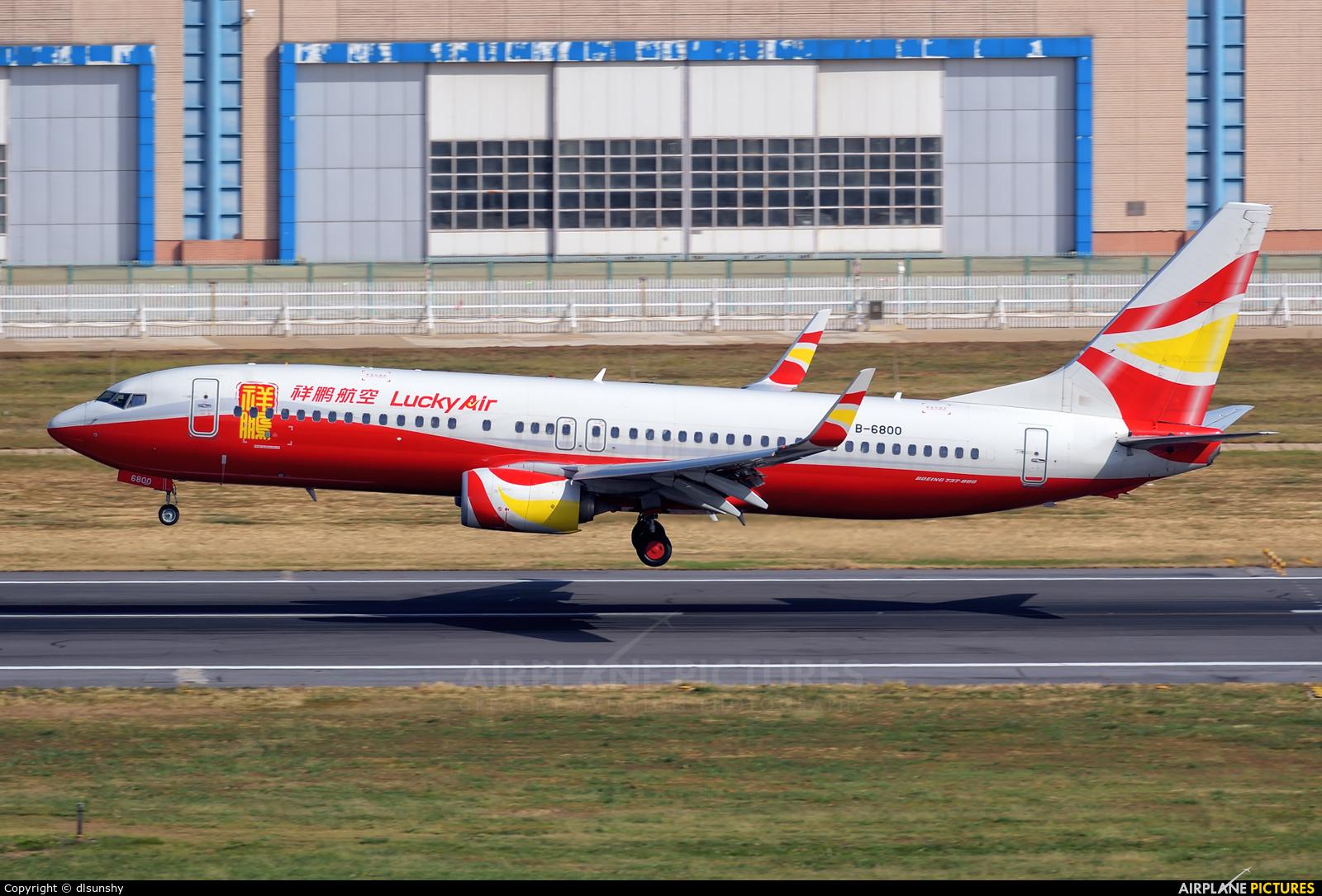 Lucky Air B-6800 aircraft at Dalian Zhoushuizi Int'l