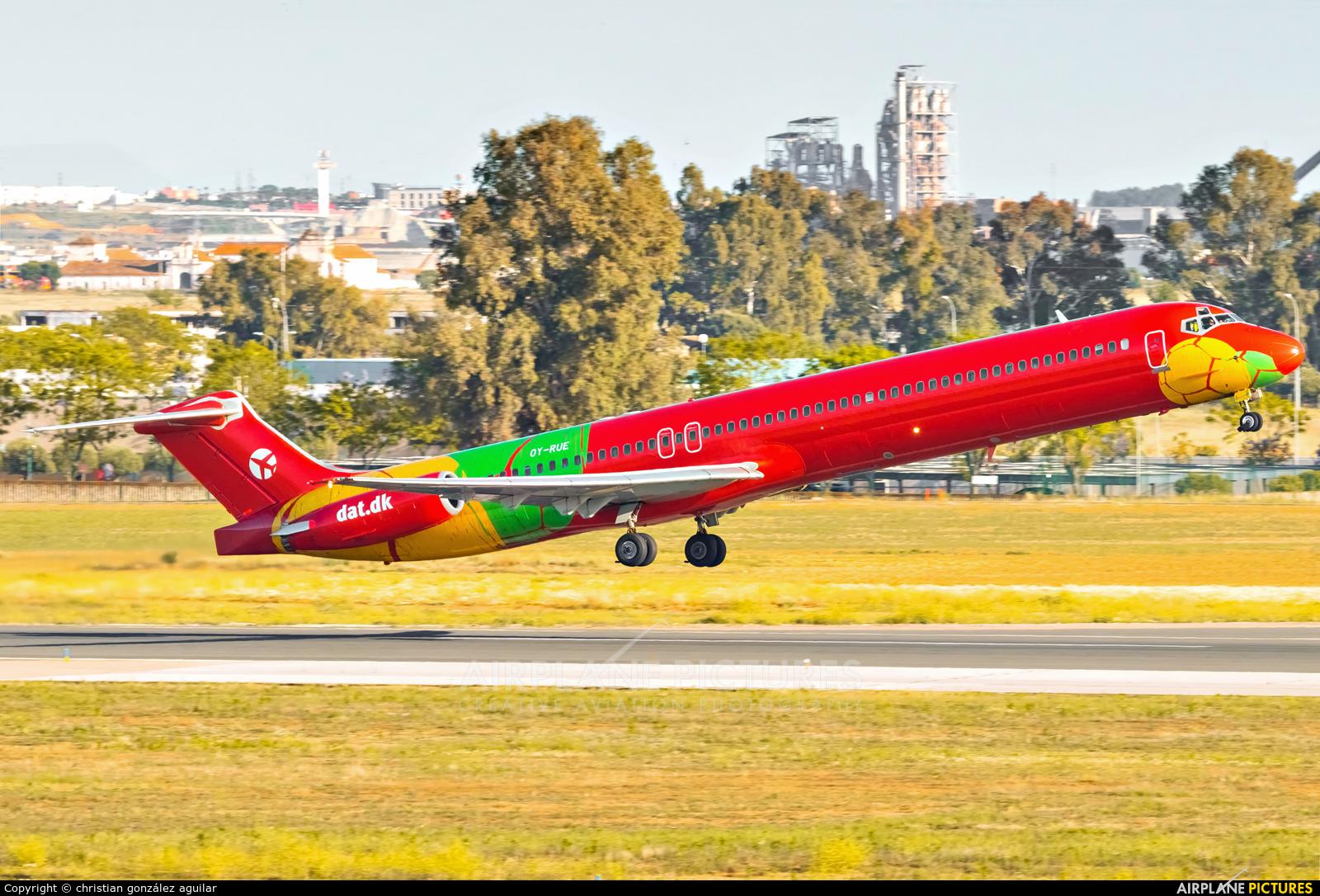 Danish Air Transport OY-RUE aircraft at Seville - San Pablo