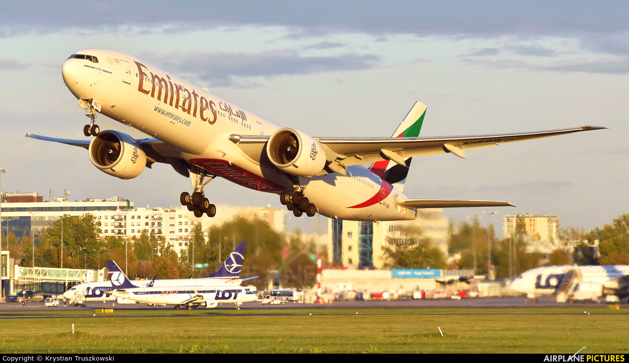 Emirates Airlines A6-END aircraft at Warsaw - Frederic Chopin