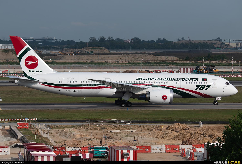 Biman Bangladesh S2-AJS aircraft at Singapore - Changi