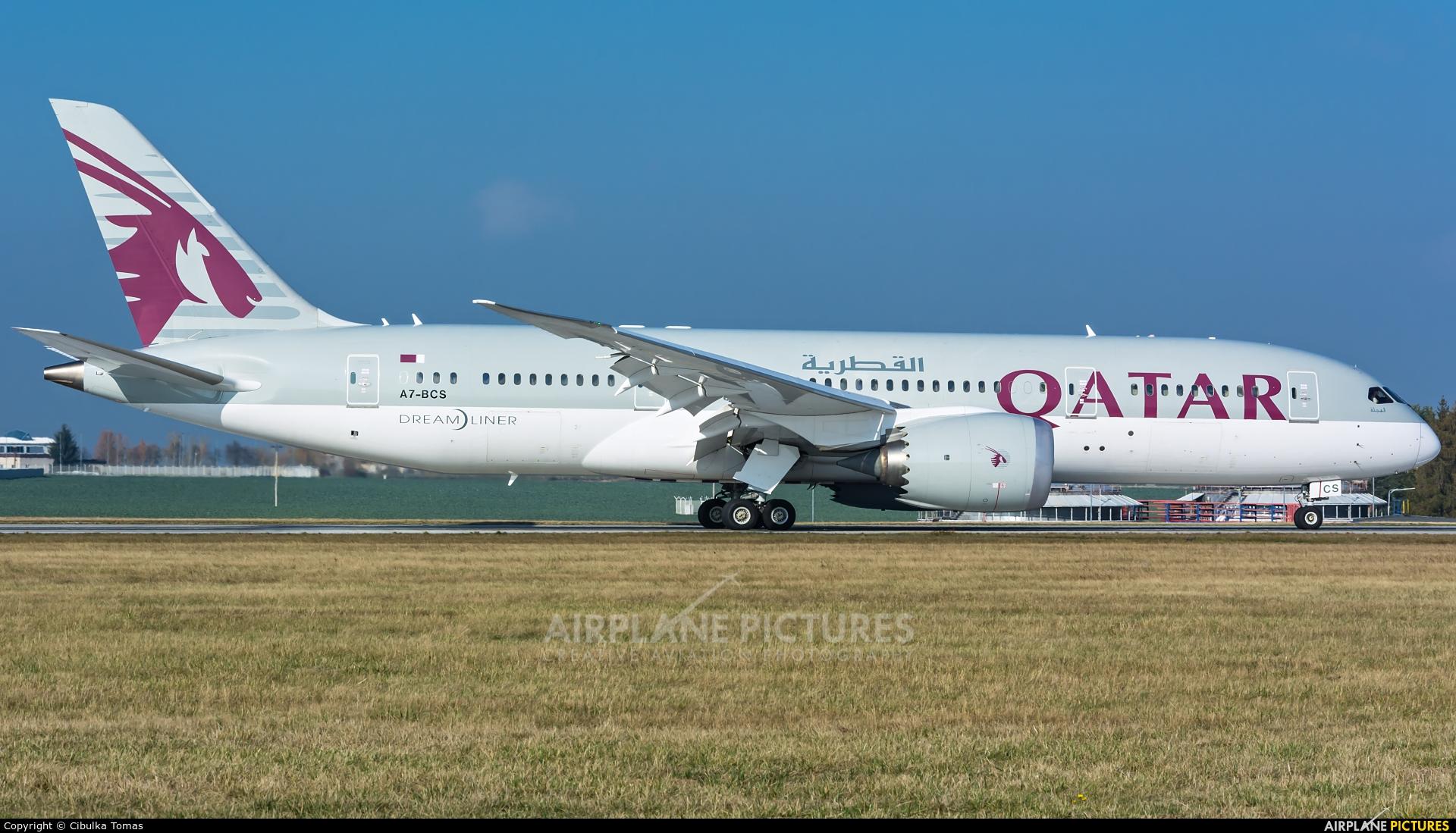 Qatar Airways A7-BCS aircraft at Prague - Václav Havel