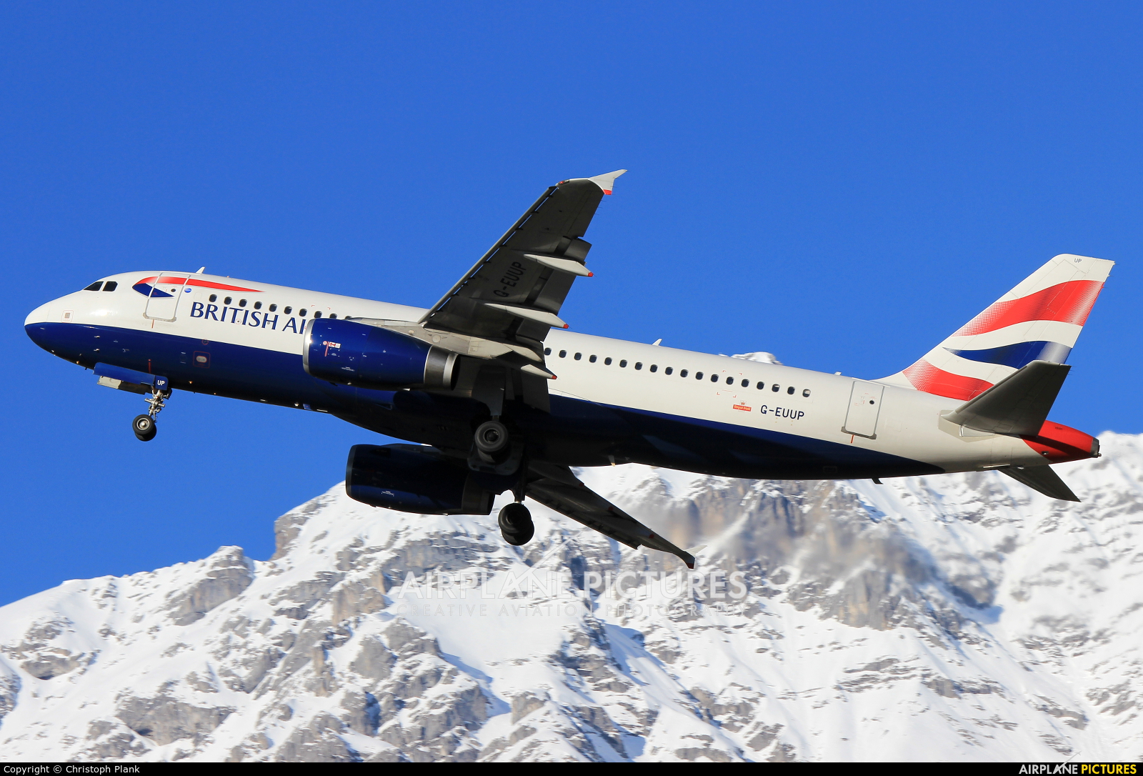 British Airways G-EUUP aircraft at Innsbruck