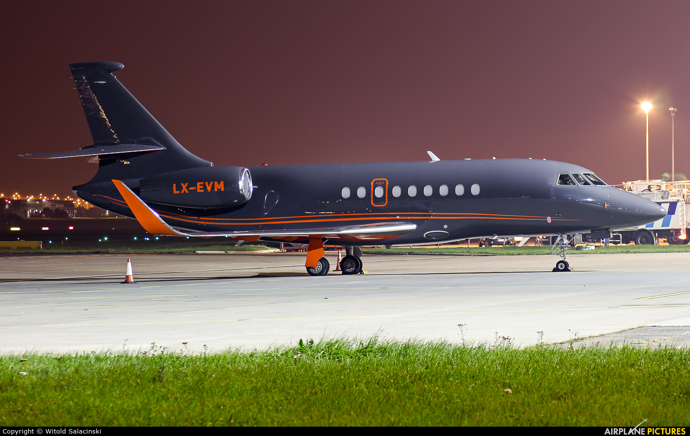 Global Jet Luxembourg LX-EVM aircraft at Warsaw - Frederic Chopin