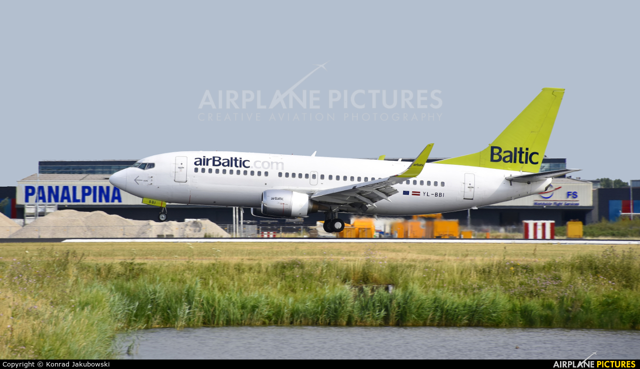 Air Baltic YL-BBI aircraft at Amsterdam - Schiphol