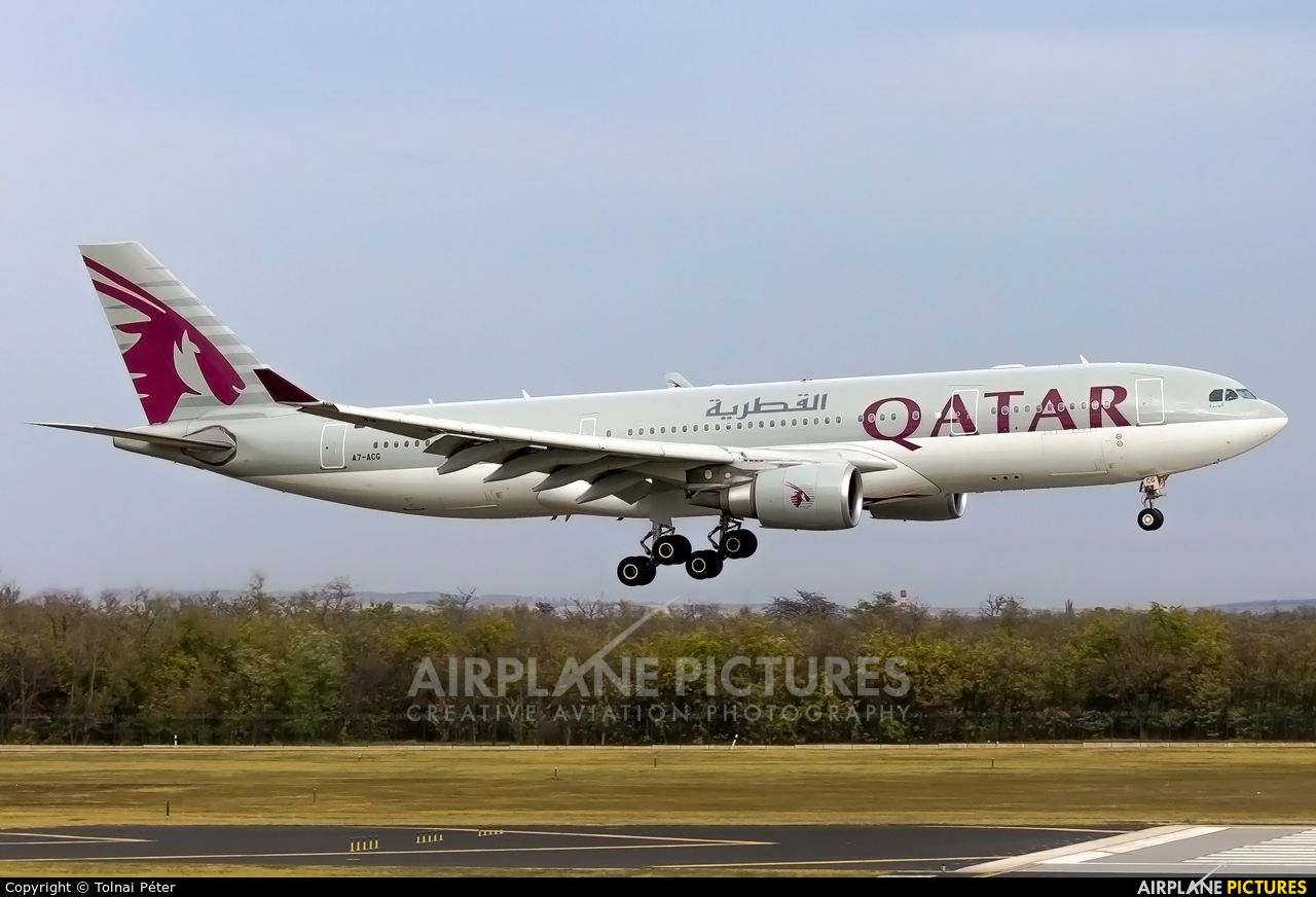 Qatar Airways A7-ACG aircraft at Budapest Ferenc Liszt International Airport
