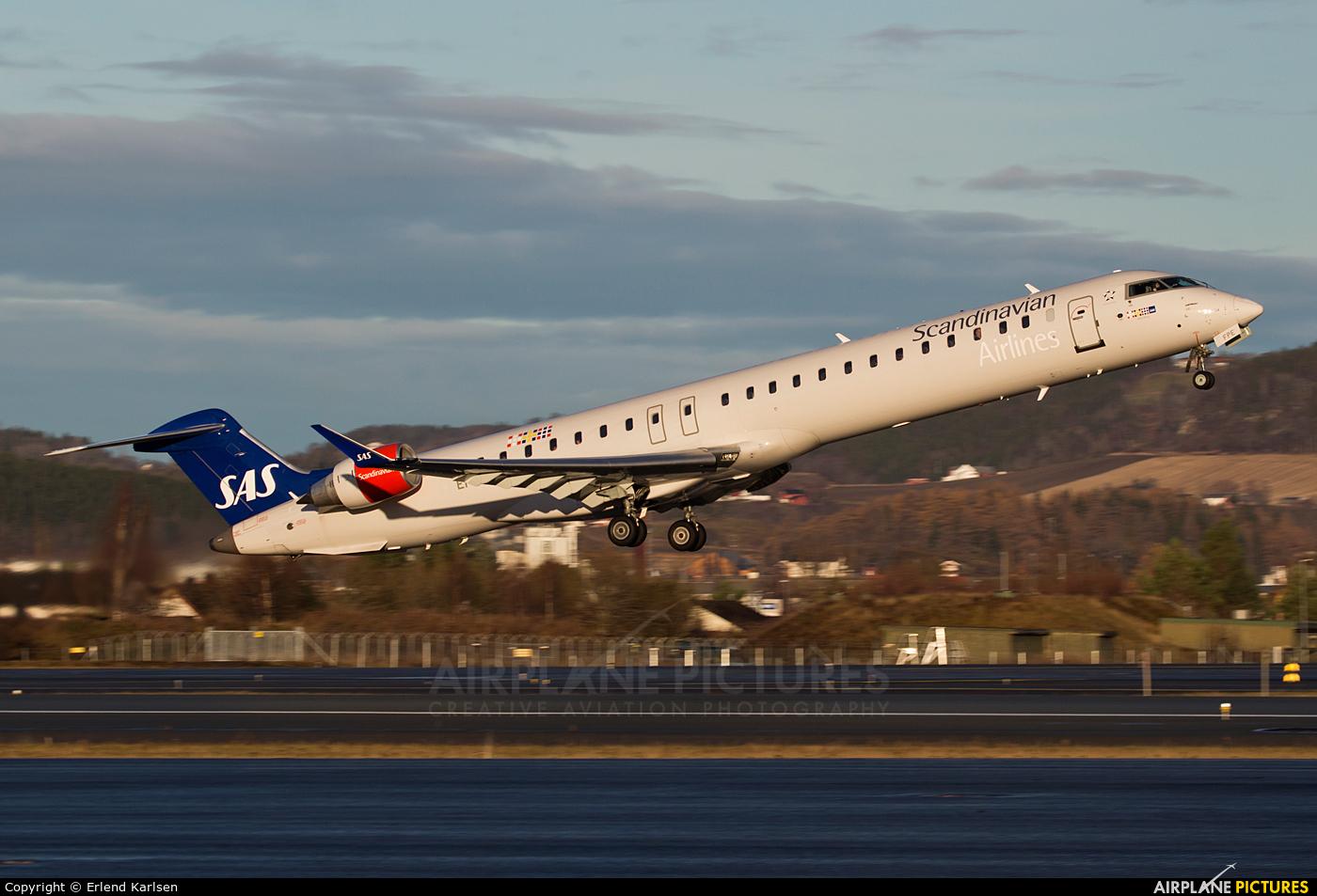 SAS - Scandinavian Airlines EI-FPE aircraft at Trondheim - Vaernes