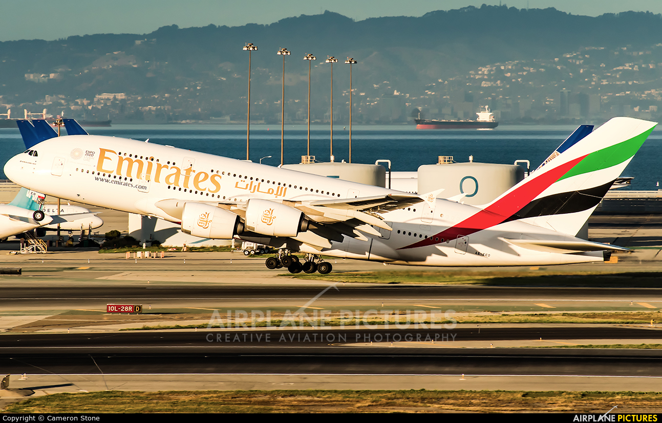 Emirates Airlines A6-EEO aircraft at San Francisco Intl