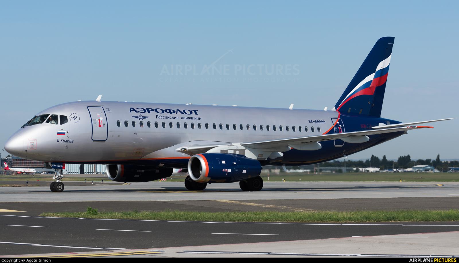 Aeroflot RA-89099 aircraft at Budapest Ferenc Liszt International Airport