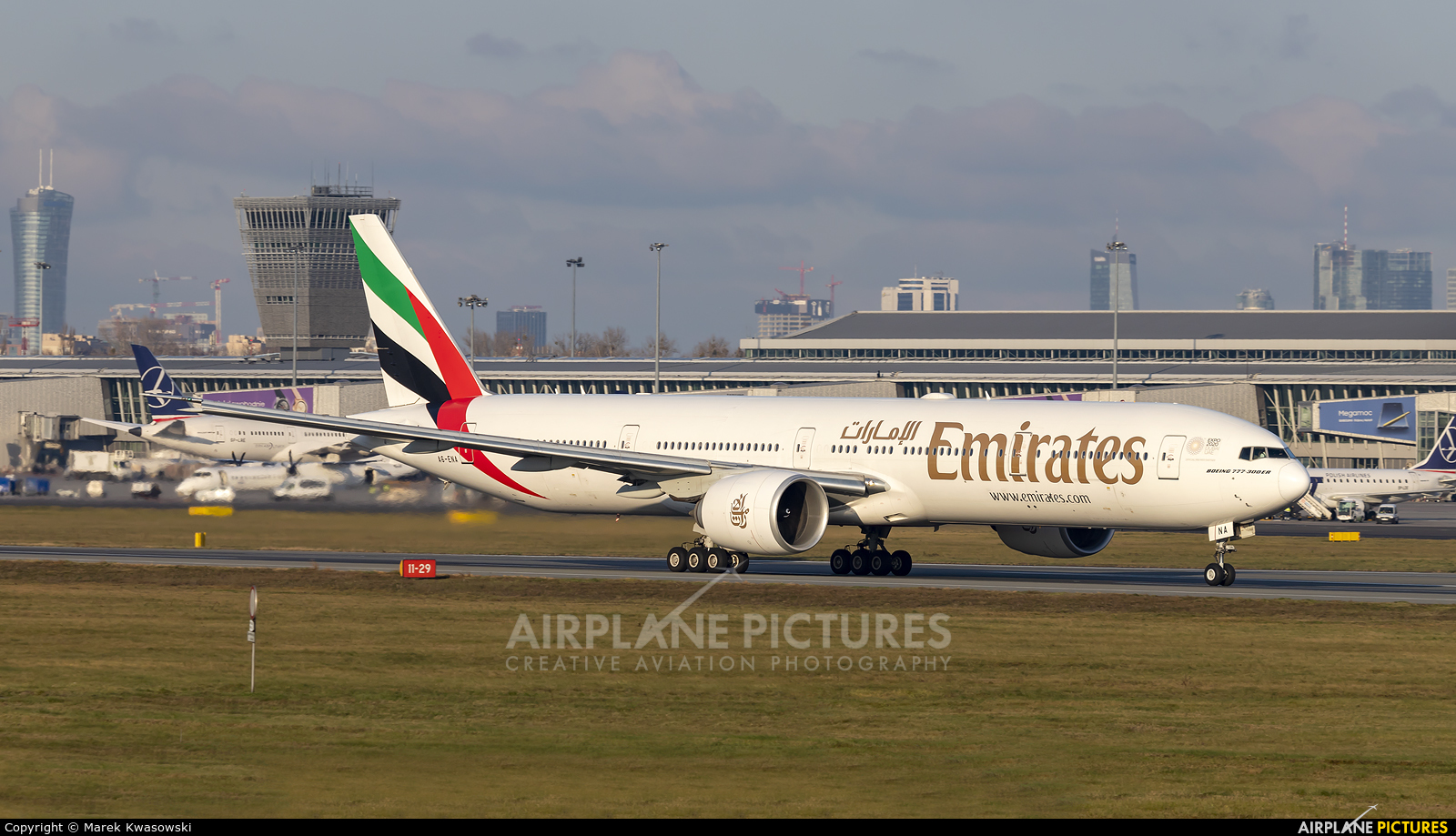 Emirates Airlines A6-ENA aircraft at Warsaw - Frederic Chopin