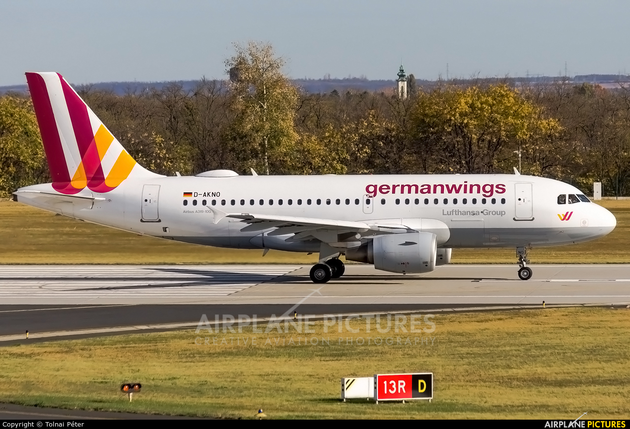 Germanwings D-AKNO aircraft at Budapest Ferenc Liszt International Airport