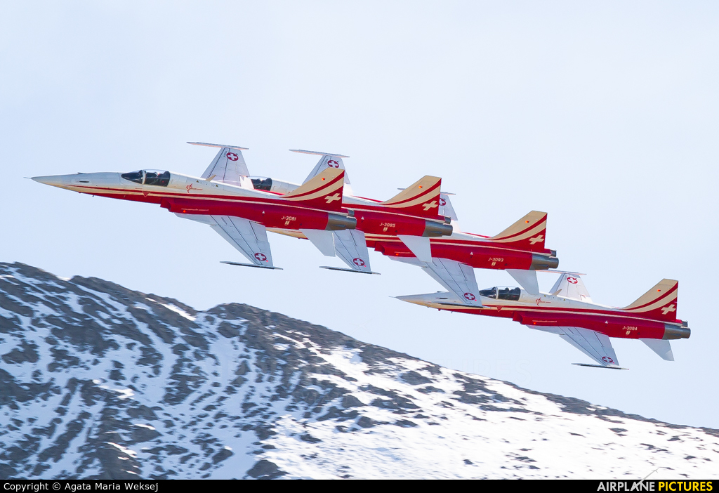 Switzerland - Air Force:  Patrouille de Suisse J-3081 aircraft at Axalp - Ebenfluh Range