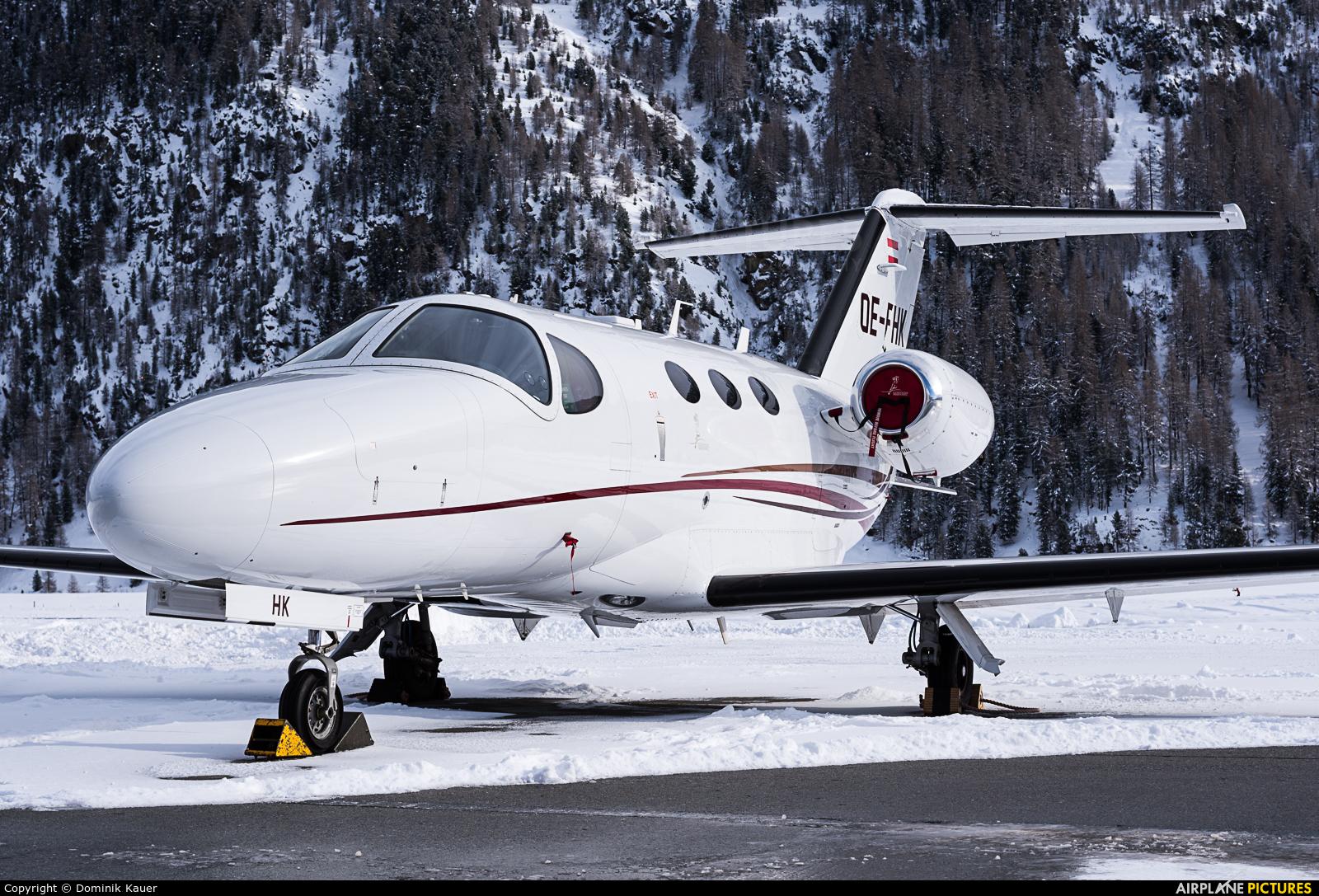 Globe Air OE-FHK aircraft at Samedan - Engadin