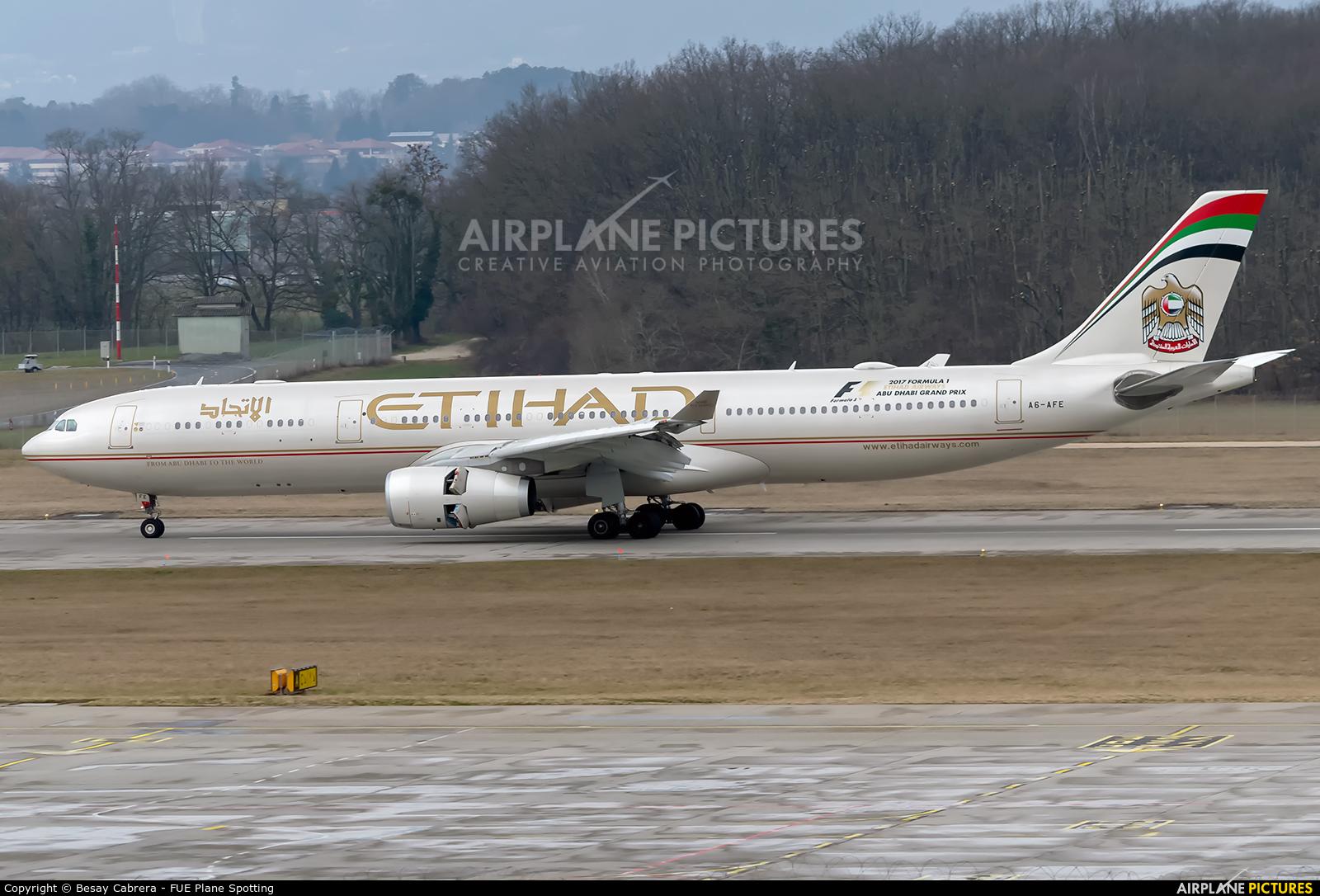Etihad Airways A6-AFE aircraft at Geneva Intl
