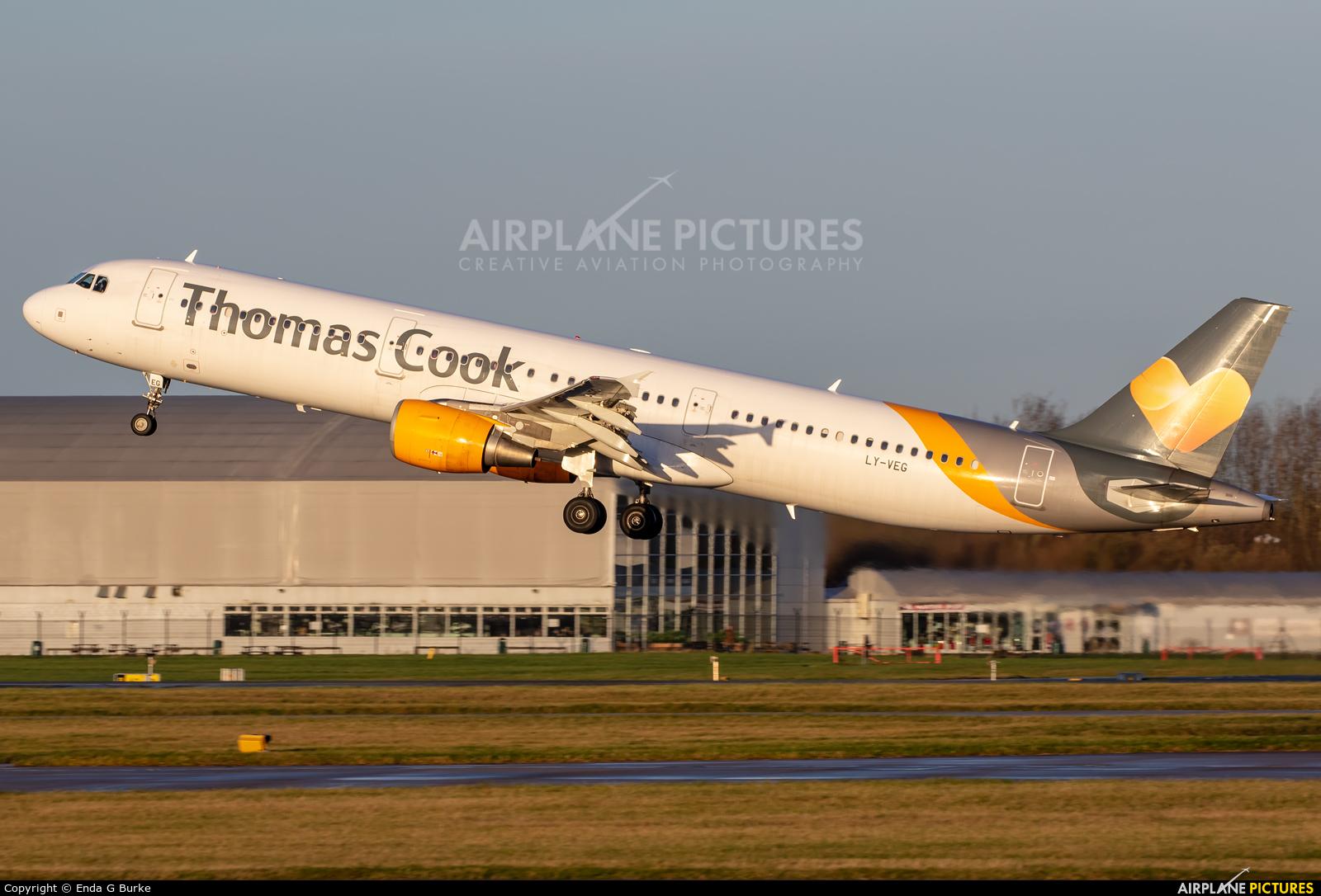 Thomas Cook LY-VEG aircraft at Manchester